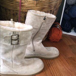 Tall Cream buckle Ugg Boots